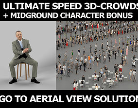 3d crowds and Fortitude Midground Business Man Sitting