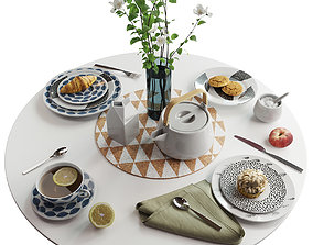 3D model Scandinavian tableware set