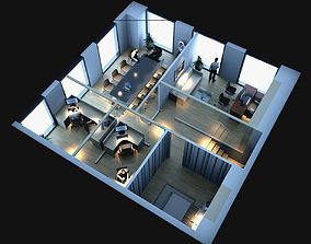 3D model Simple style office plane stereoscopic space