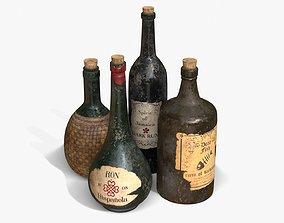 3D asset Old Rum Bottles
