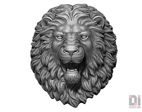 Angry Lion animal head round base 3D print model