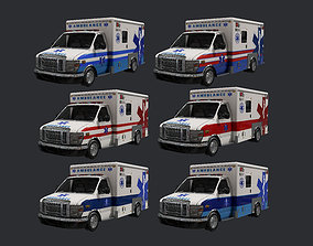 6 Ambulance Vehicle Rescue Truck Game Ready Pack 01 3D