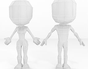 3D Human female and male cartoon low poly base mesh set