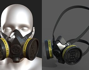 Gas mask protection futuristic plastic Black 3D asset