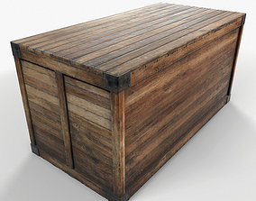 Retro Wooden Crate Game Ready PBR Textures 3D asset