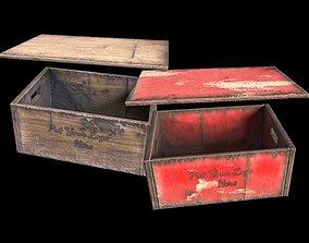 3D model low-poly vintage beer crate