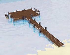 Marina for boats 3D model quayside