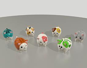 Statuettes of cute cats Var2 3D asset