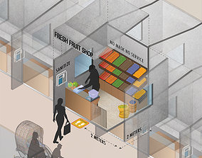 Roadside shop with new normal concept safety animated 1