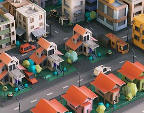 Simple City Town Low Poly Assets VR - AR - Game low-poly 1