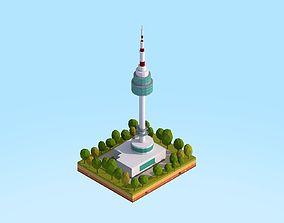 Low Poly N Seoul Tower Landmark 3D asset