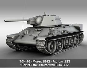 3D T-34-76 - Model 1942 - Factory 183 - Soviet Medium Tank