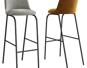 Chair with footrest ALETA 3d model low-poly