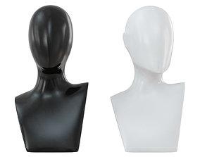 Female black and white bust 105 3D model