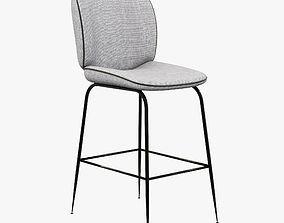 Modern fabric bar stool 3D model