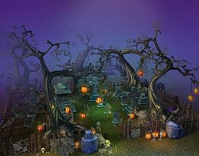 Low Poly Cemetery Halloween Set 3D asset