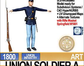 3D Civil War Union Soldier A Infantry