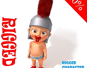 Baby roman legion soldier Cartoon Rigged 3D