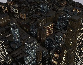 3D asset low-poly LOWPOLY NIGHT CITY