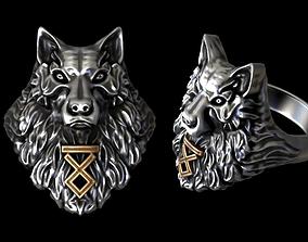 3D printable model Wolf Rune ring