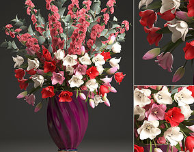 Bouquet of spring flowers tulips 3D