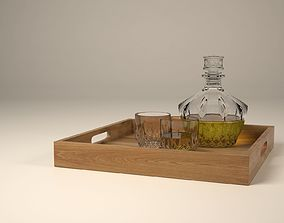 Crystal Glass set with whiskey houseware 3D