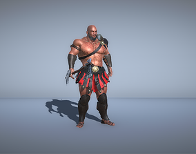 sword Gladiator Warrior with ax - 3d model animated