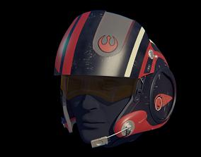 3D print model X-Wing pilot helmet Poe Dameron from Star
