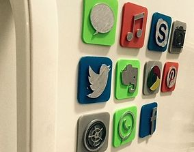 IOS icon fridge magnet twitter 3D