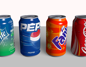 Coke Fanta Pepsi Sprite Can 3D model
