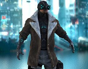 3D model rigged Cyberpunk Mercenary Character