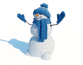 3D Snowman with hat and mittens