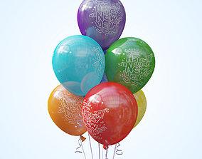 3D model Seven helium balloons