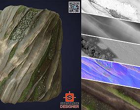 3D model Wet Mossy Rock - SBSAR - PNG - 4K - Seamless - 2