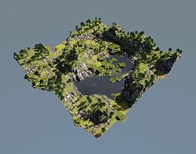 Green oasis in blender 3D model