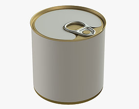 3D model canned food round tin metal aluminium can 05