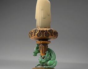3D model Ancient Candle Holder With Jade Dragon