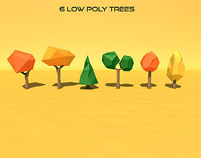 6 Low Poly Trees 3D asset