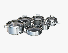 A set of stainless steel saucepans 3D model