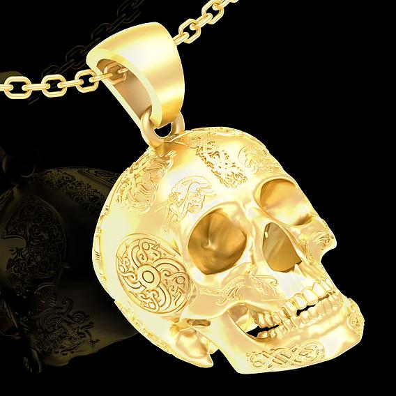 Tattooed Skull Pendant jewelry Gold 3D print model