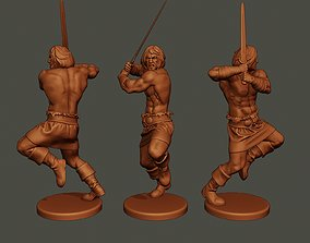 3D printable model Male Barbarian 2HSword Attacking2