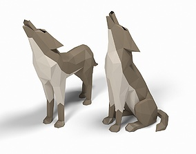 Wolf low poly 3D asset