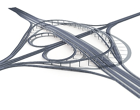 Highway Road Viaduct Flyover-11 3D model