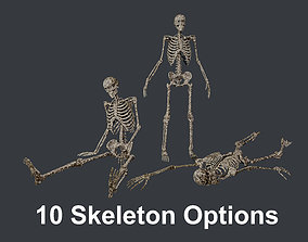 10 Skeletons Old and Mossy Game Ready 3D model