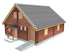 3D model Wooden shelter 05