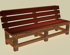 Wooden solid bench 3D asset