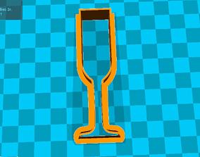 3D print model Stl file a glass of champagne wine wine 1