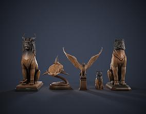 5 Wooden Statues Pack 2 3D model