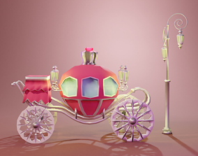 3D model Red Carriage With Silver