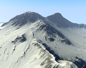 3D asset low-poly Snowy Mountain